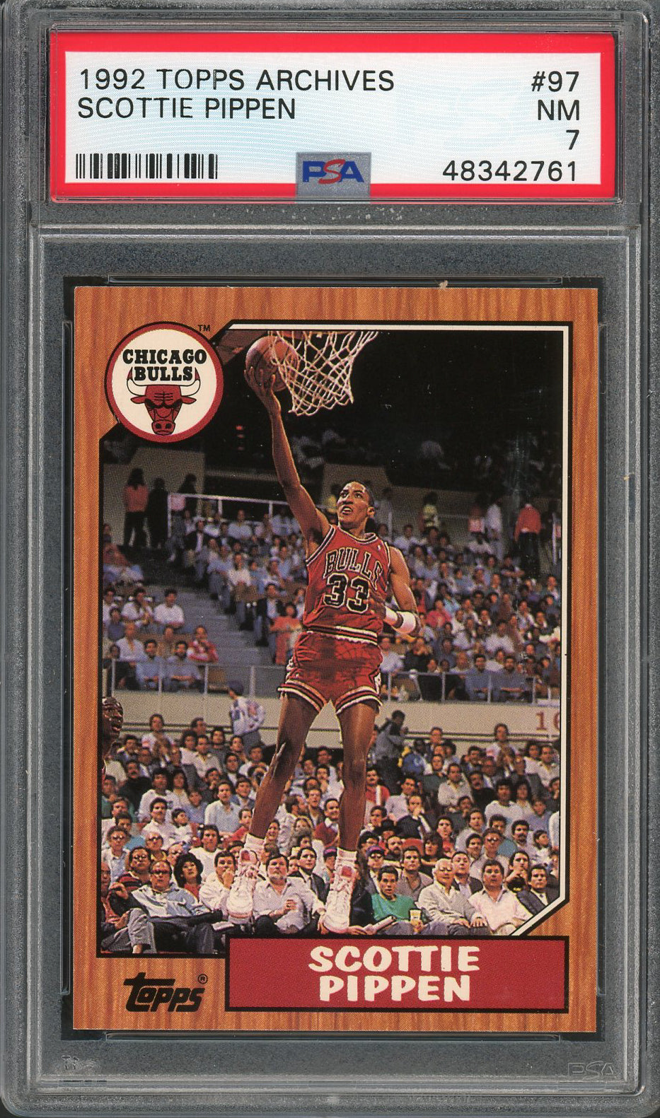 Scottie Pippen Chicago Bulls 1992 Topps Archives Basketball Card #97 Graded PSA 7-Powers Sports Memorabilia