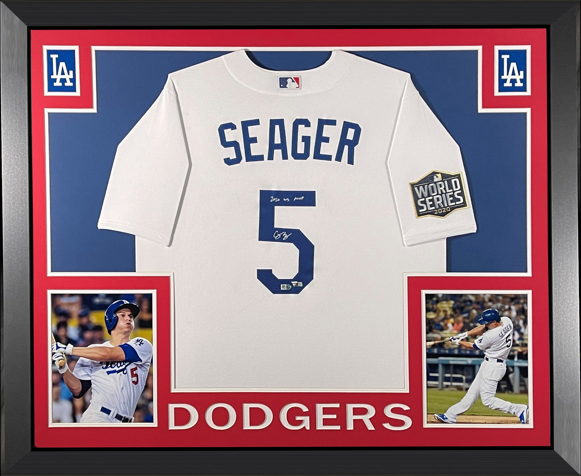Corey Seager Autographed Los Angeles Dodgers 2020 World Series MVP Signed MLB Baseball Framed Jersey Fanatics Authentic COA-Powers Sports Memorabilia