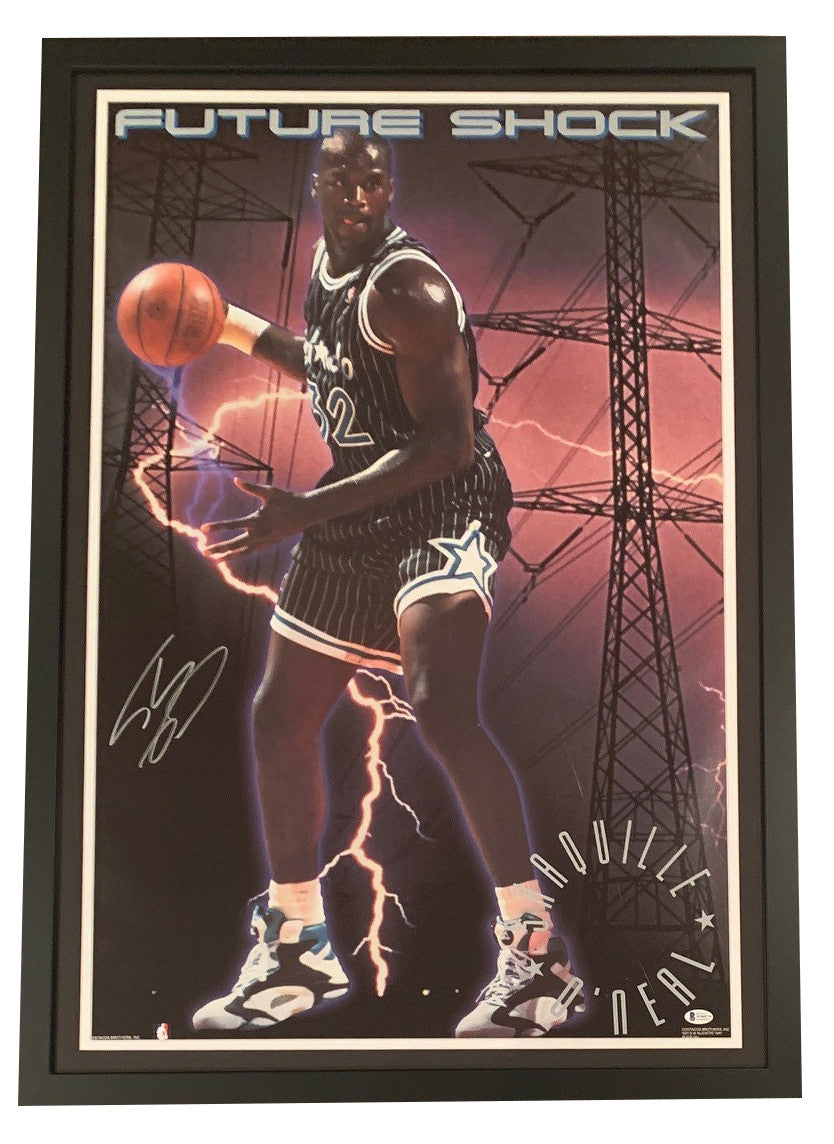 Shaquille O'Neal Autographed Orlando Magic Signed Basketball Framed 22x34 Future Shock Poster Photo Beckett BAS COA-Powers Sports Memorabilia