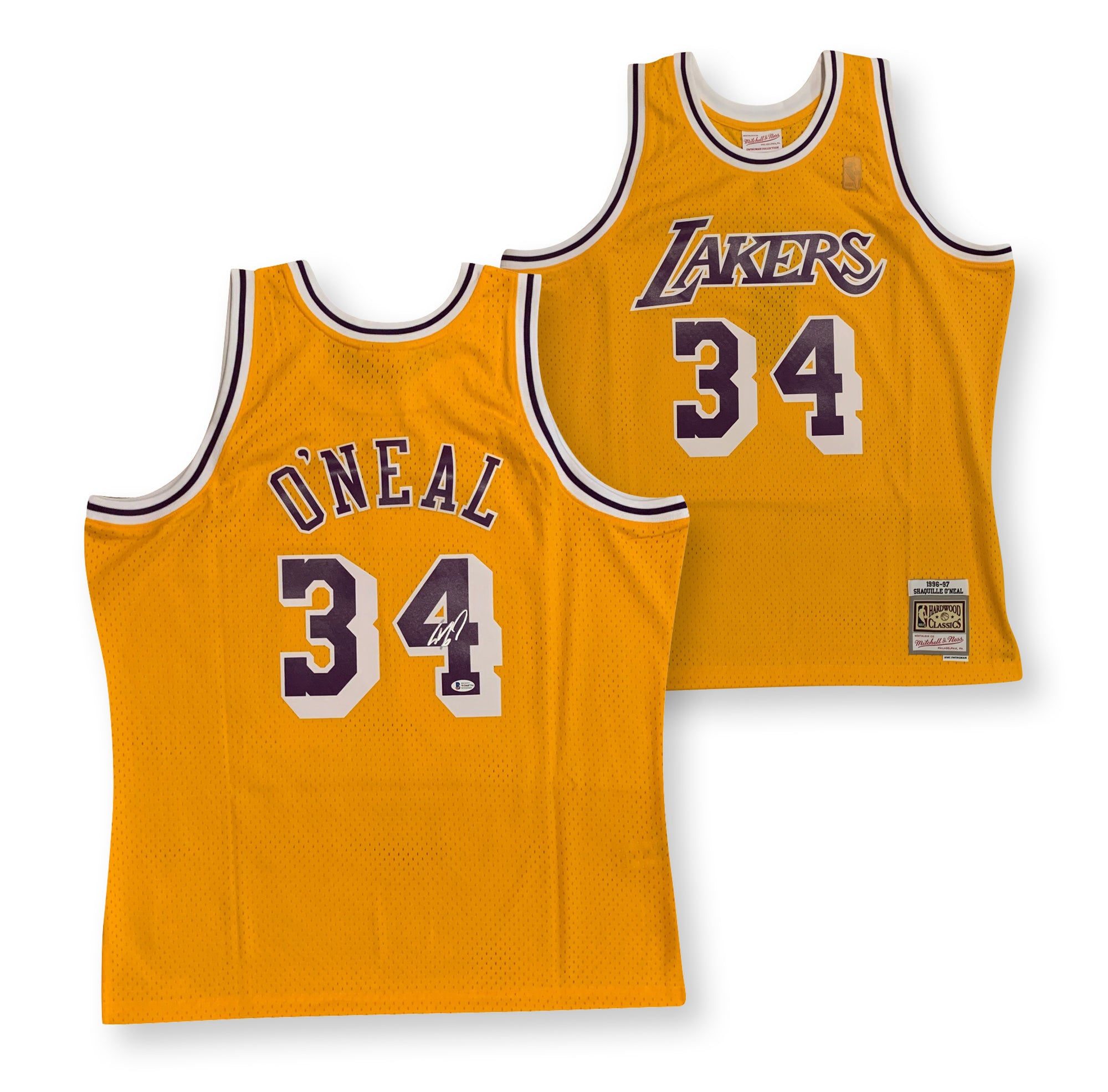 Shaquille O'Neal Autographed Los Angeles Lakers Officially Licensed Mitchell and Ness Swingman Signed 1996-1997 Basketball Gold Jersey Beckett BAS COA-Powers Sports Memorabilia