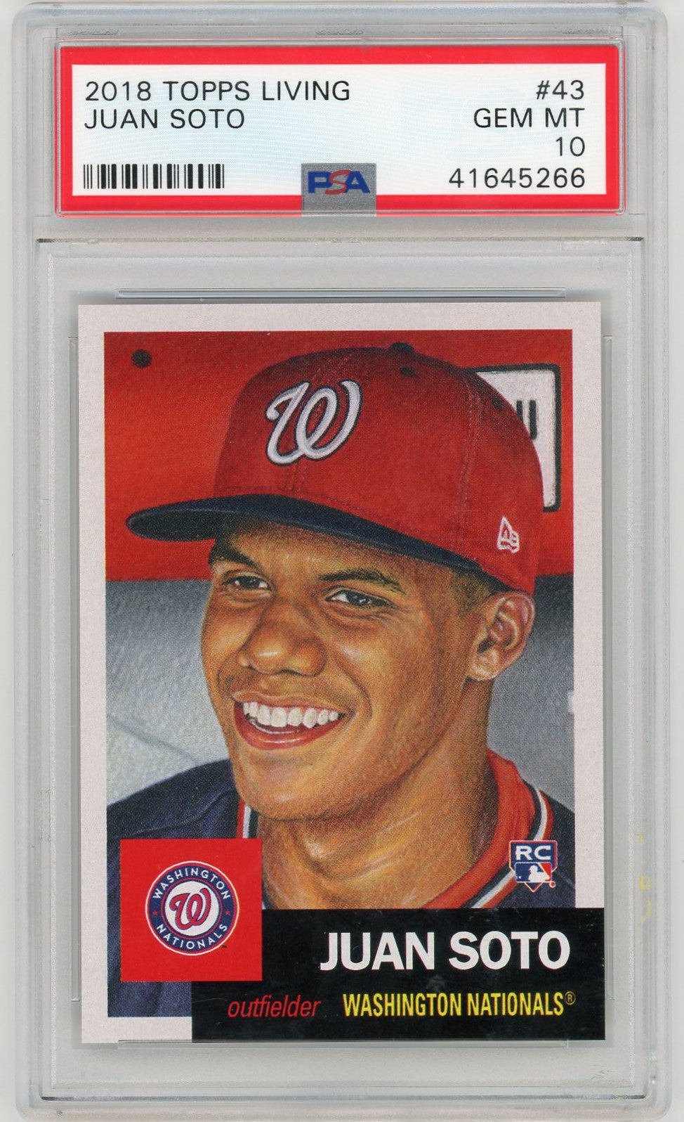 Juan Soto Washington Nationals 2018 Topps Living Baseball Rookie Card RC #43 Graded PSA 10 GEM MINT-Powers Sports Memorabilia