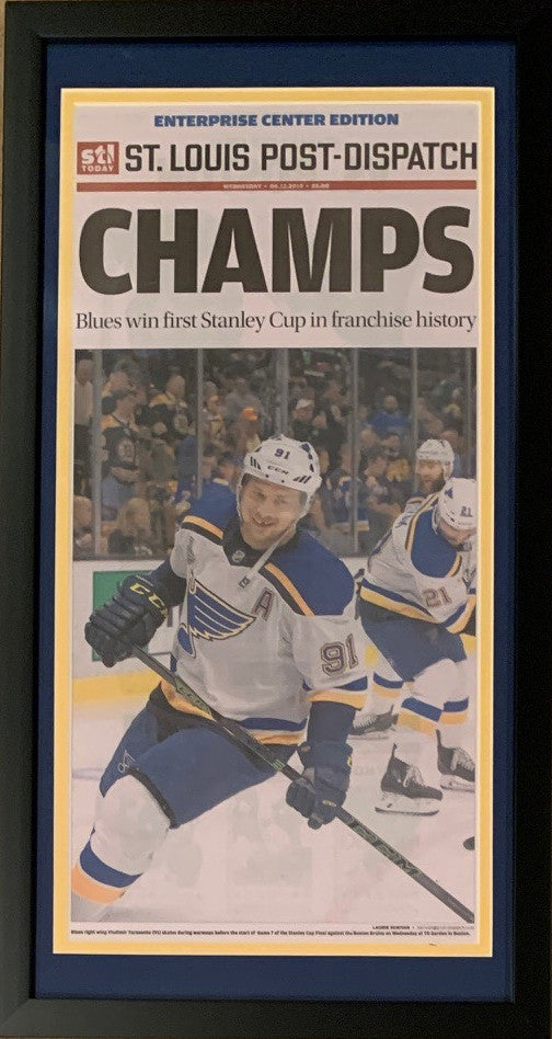 St Louis Post Dispatch 2019 Stanley Cup Hockey Champions CHAMPS Original Front Page Framed Newspaper 6/12/19-Powers Sports Memorabilia