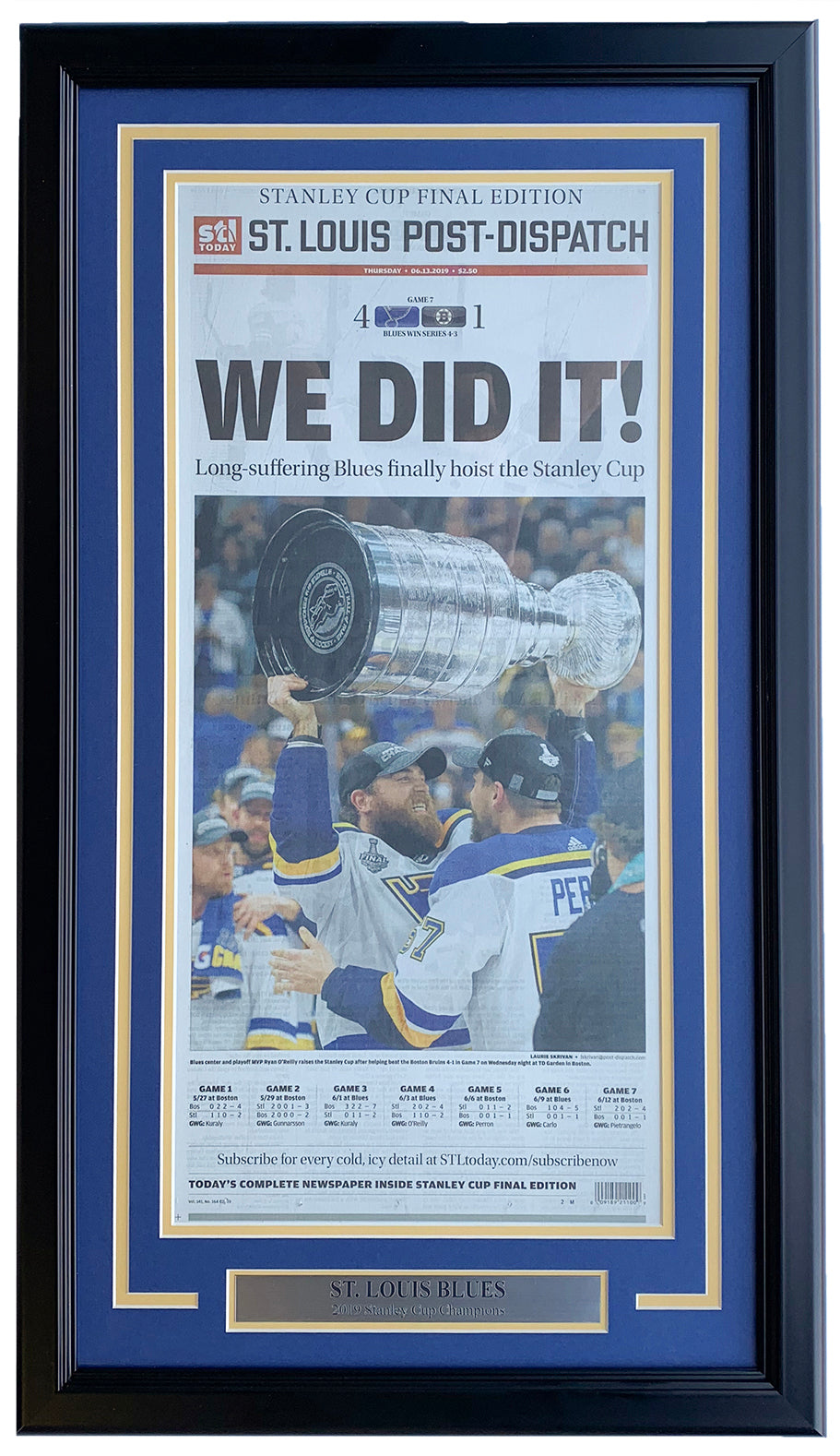 St. Louis Blues Framed June 13 2019 Stanley Cup Champs St. Louis Post Cover PSM-Powers Sports Memorabilia