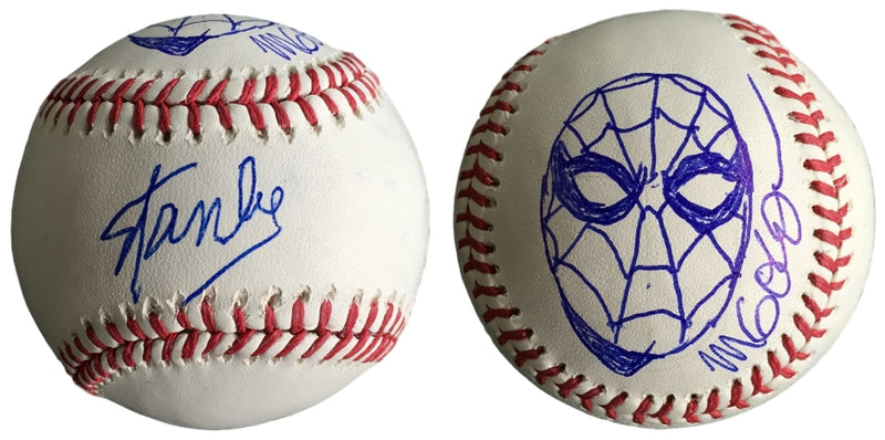 Stan Lee Signed Baseball Michael Golden Spider-Man Sketch w/Free Cube JSA L26408 PSM-Powers Sports Memorabilia