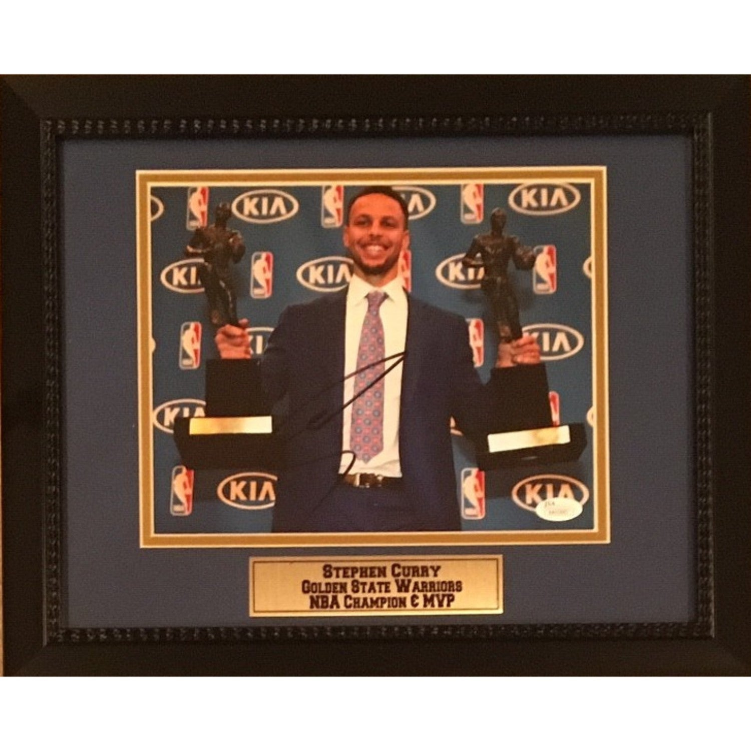 Stephen Curry Autographed Golden State Warriors Signed NBA Champion MVP 8x10 Framed Basketball Photo JSA COA 3-Powers Sports Memorabilia