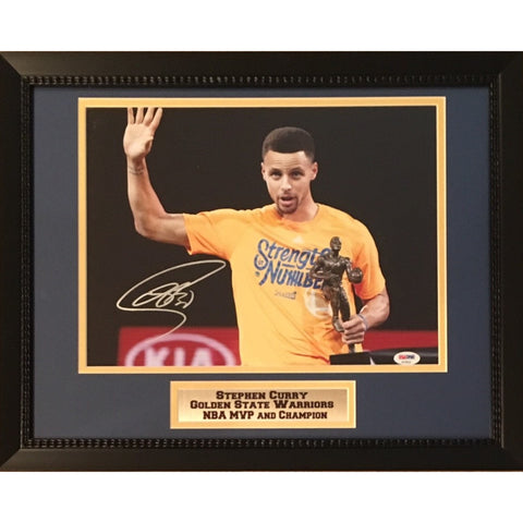 Stephen Curry Golden State Warriors Autographed 11x14 Basketball Framed Photo NBA MVP PSA DNA COA