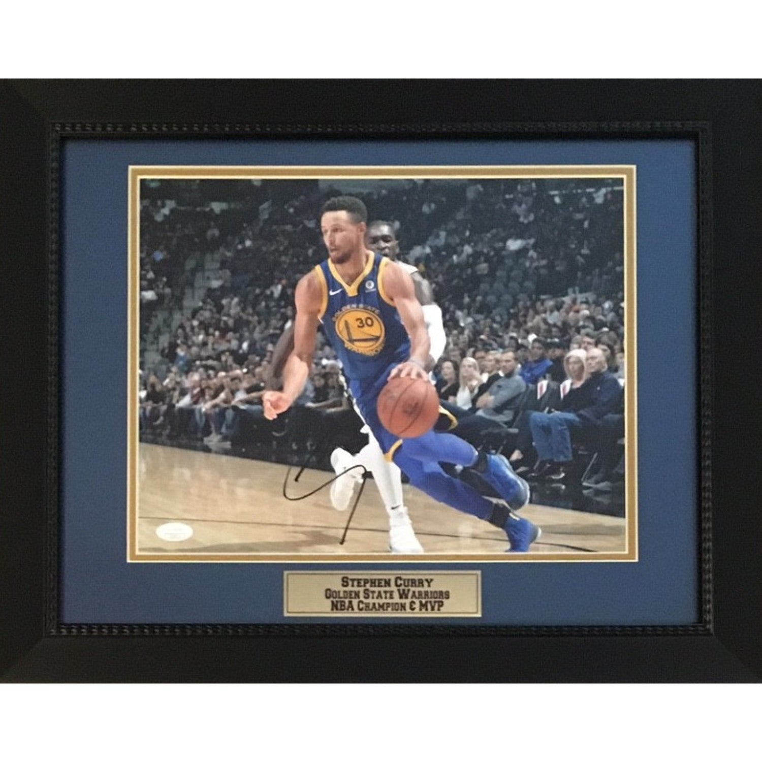 Stephen Curry Autographed Golden State Warriors Basketball Signed NBA Champion MVP 11x14 Photo Framed JSA COA 4-Powers Sports Memorabilia