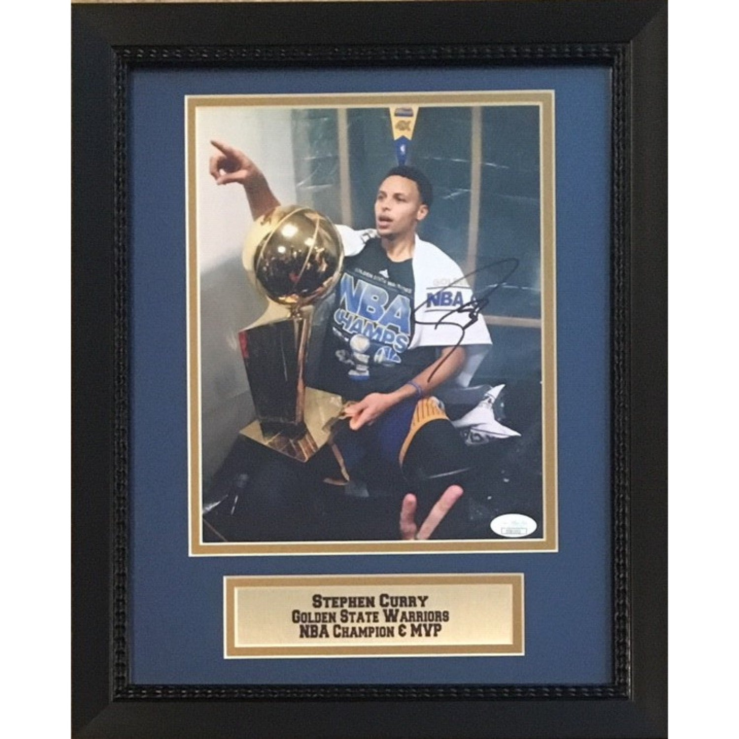 Stephen Curry Autographed Golden State Warriors Signed NBA Champion MVP 8x10 Framed Basketball Photo JSA COA 5-Powers Sports Memorabilia