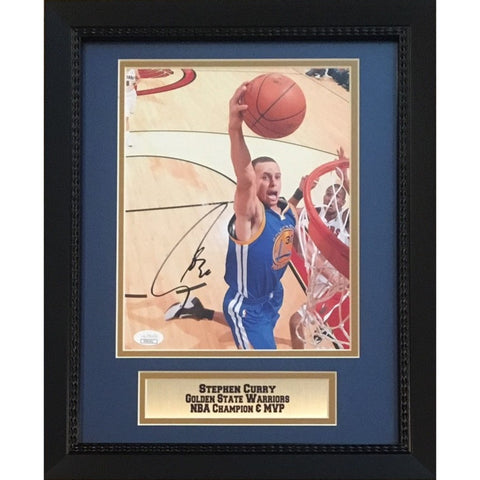 Stephen Curry Autographed Golden State Warriors Signed NBA Champion MVP 8x10 Framed Basketball Photo JSA COA 6-Powers Sports Memorabilia
