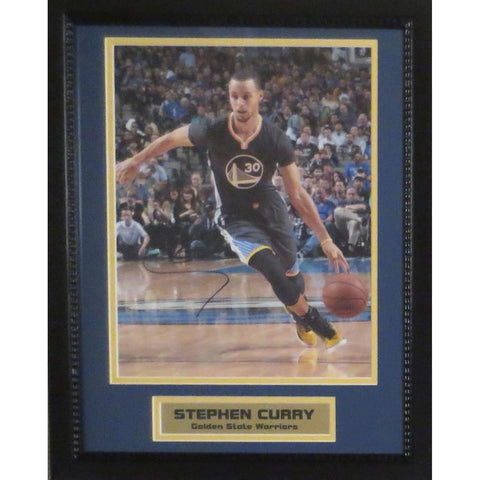 Stephen Curry Autographed Warriors Signed Basketball 11x14 Framed Photo COA 2