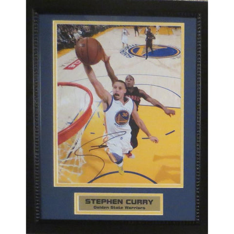 Stephen Curry Autographed Warriors Signed Basketball 11x14 Framed Photo COA 3