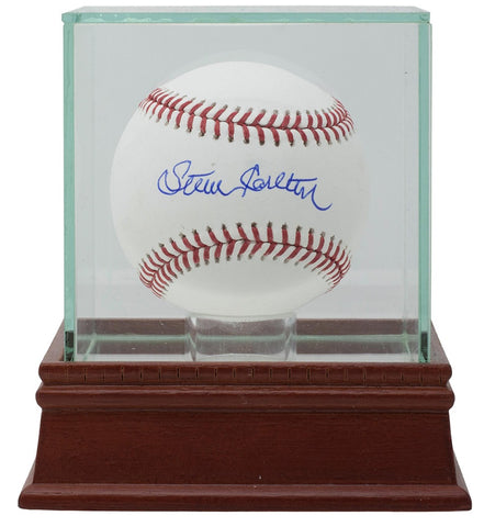 Steve Carlton Phillies Signed Official MLB Baseball JSA w/ Glass Display Case PSM-Powers Sports Memorabilia