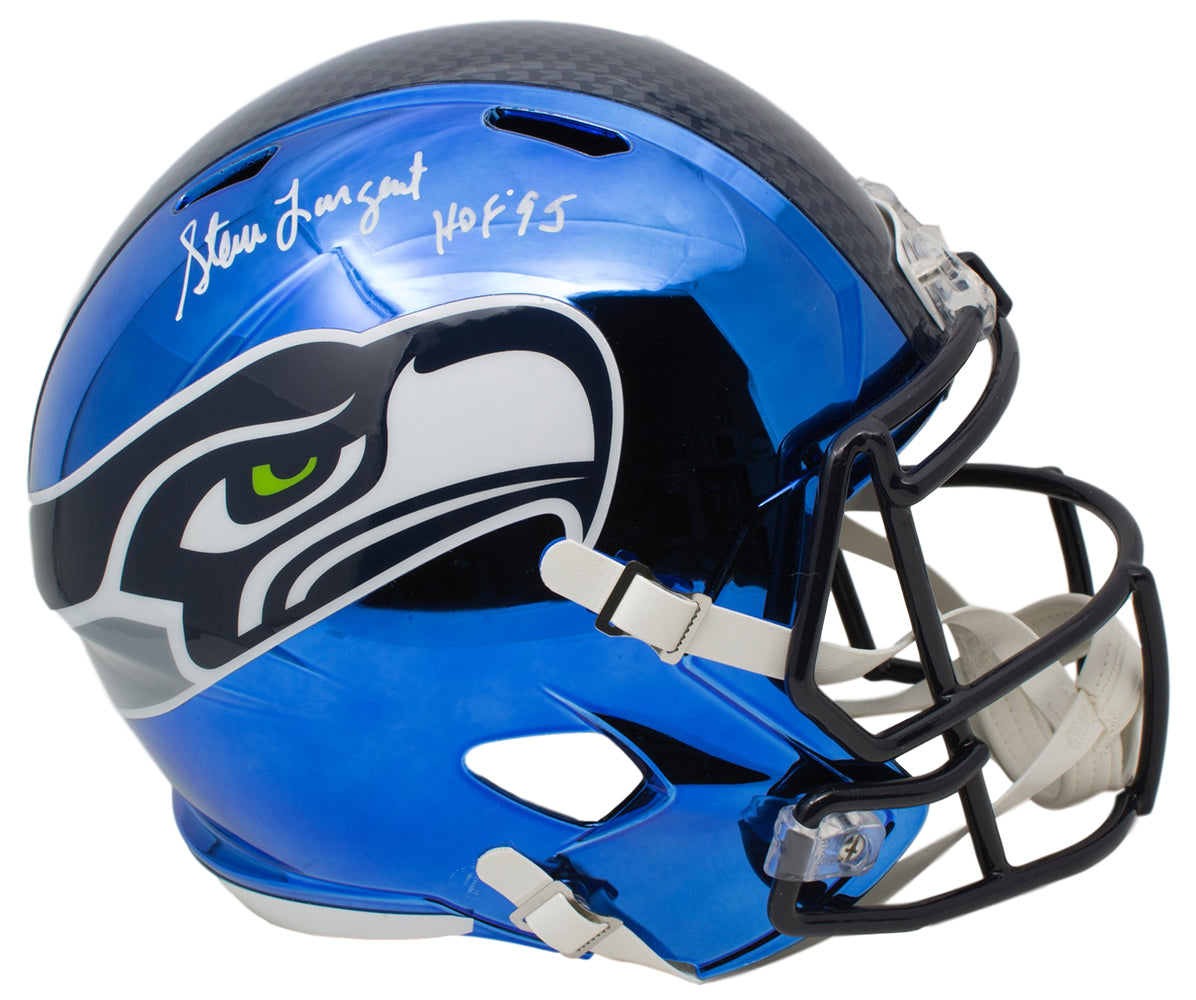 Steve Largent Signed Seattle Seahawks Full Size Spd Rep Chrome Helmet HOF 95 JSA PSM-Powers Sports Memorabilia
