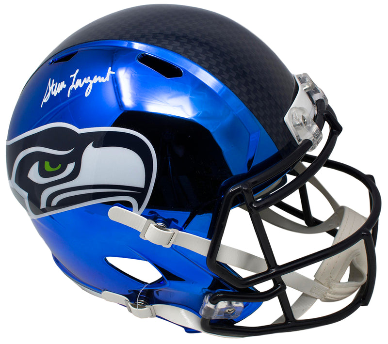 Steve Largent Signed Seattle Seahawks Full Size Speed Replica Chrome Helmet BAS PSM-Powers Sports Memorabilia