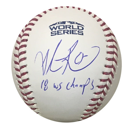 Steve Pearce Boston Red Sox Autographed 2018 World Series MVP Signed Baseball Fanatics MLB Authenticated With UV Display Case-Powers Sports Memorabilia