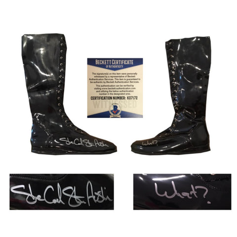 Stone Cold Steve Austin Autographed WWE Shoes WHAT? Signed Wrestling Boots Beckett BAS COA-Powers Sports Memorabilia