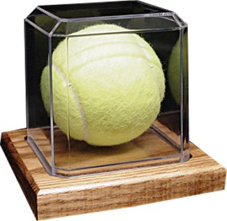 Tennis Ball unsigned Display Case with Wood Base PSM