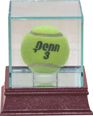 Tennis 1-Ball Glass Deluxe Display Case PSM-Powers Sports Memorabilia