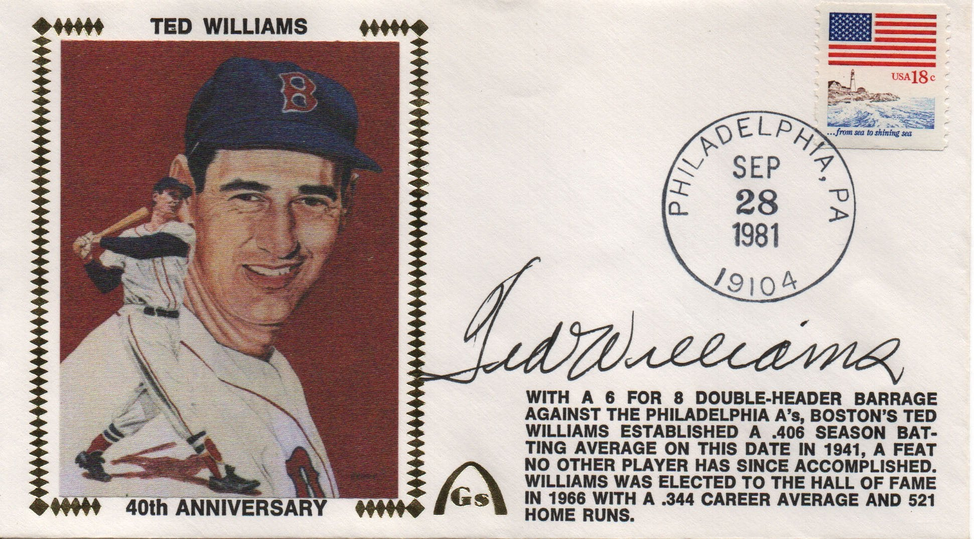 Ted Williams Autographed Sep 28 1981 First Day Cover PSM-Powers Sports Memorabilia