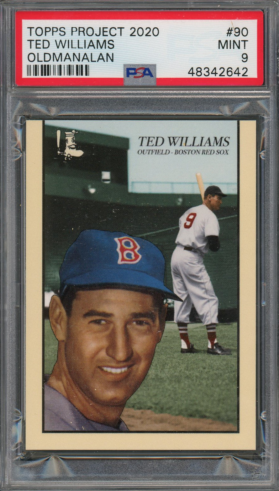 Ted Williams Boston Red Sox Topps Project 2020 Oldmanalan Baseball Card #90 Graded PSA 9 MINT-Powers Sports Memorabilia