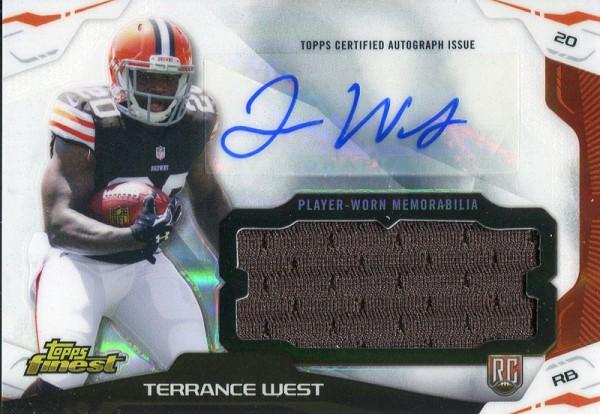 Terrance West Autographed 2014 Topps Finest Rookie Jersey Card PSM