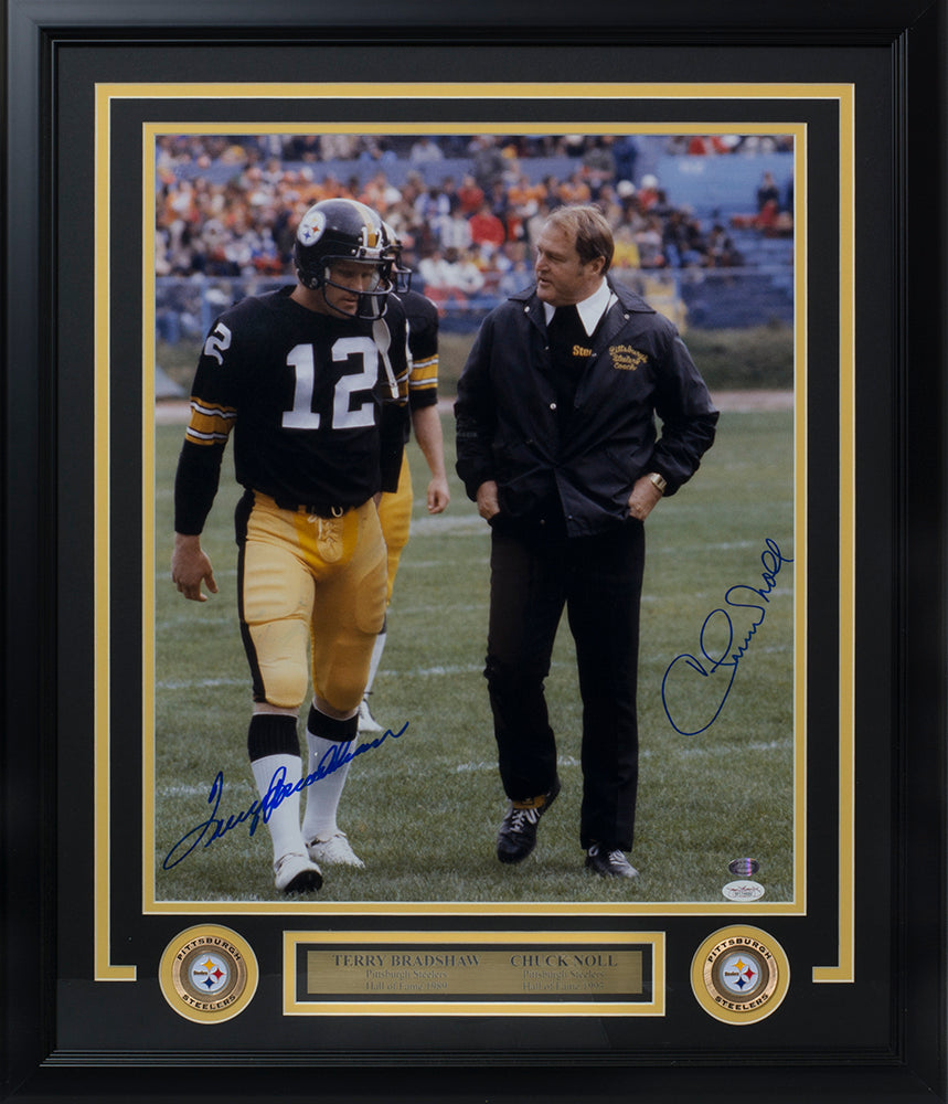 c3642936f70 Terry Bradshaw Chuck Noll Dual Signed Framed Steelers 16x20 Photo JSA + SI  PSM