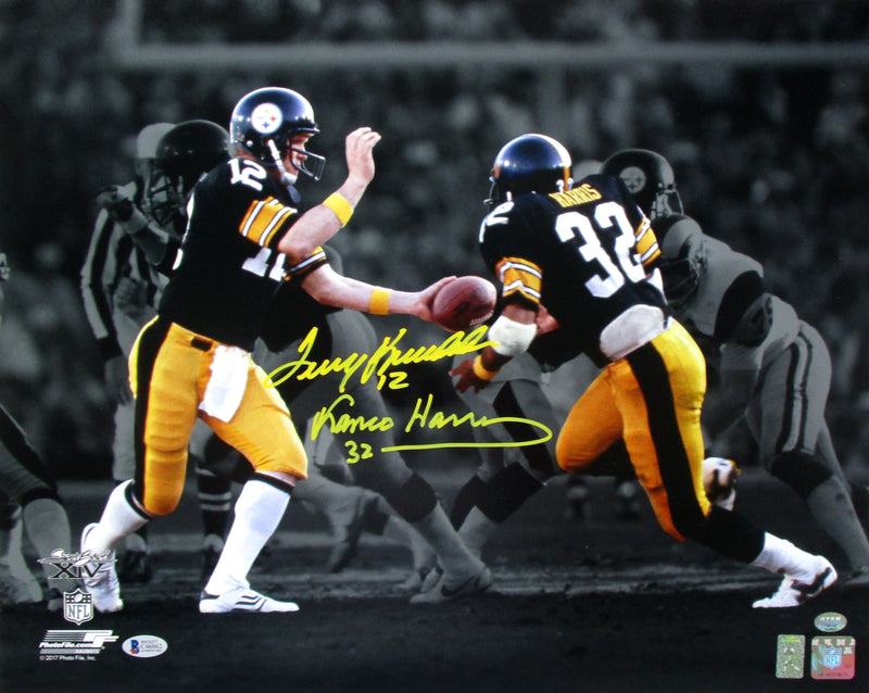 Terry Bradshaw Franco Harris Signed Pittsburgh Steelers 16x20 Photo Beckett BAS PSM-Powers Sports Memorabilia