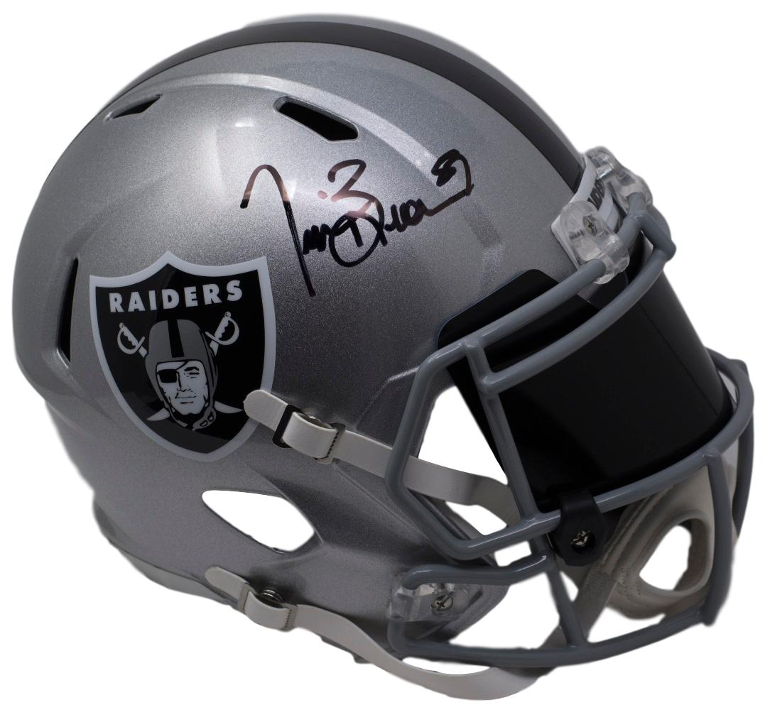 Tim Brown Signed Oakland Raiders Full Size Replica Speed Helmet w/ Visor BAS PSM-Powers Sports Memorabilia