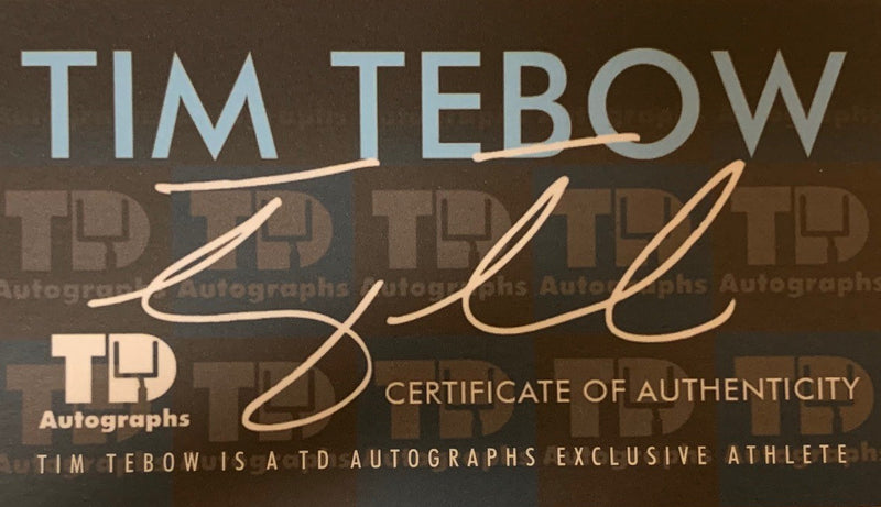 Tim Tebow Autographed Blue Signed Football Jersey 2007 Heisman Trophy HOLOGRAM COA + Photo Signing-Powers Sports Memorabilia