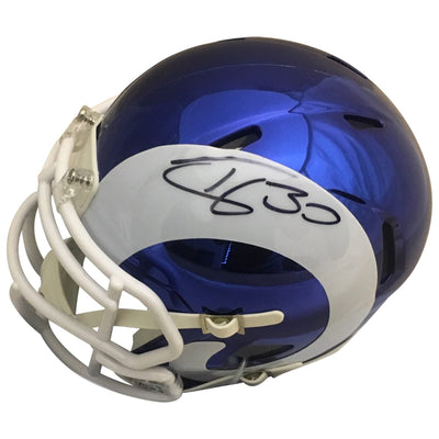 Jared Goff and Todd Gurley Autographed Los Angeles Rams Chrome Signed Football Mini Helmet PSA DNA COA-Powers Sports Memorabilia