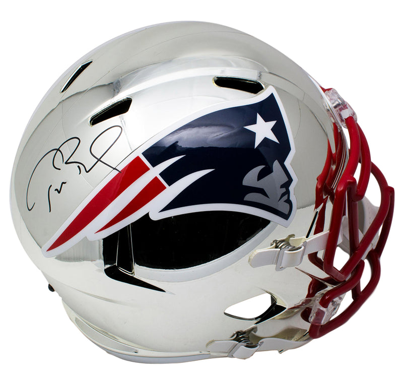 Tom Brady Signed Patriots Full Size Riddell Chrome Replica Speed Helmet TriStar PSM-Powers Sports Memorabilia