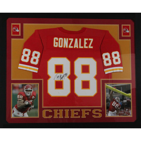 Tony Gonzalez Autographed Kansas City Chiefs Signed Mitchell & Ness Football Framed Jersey JSA COA-Powers Sports Memorabilia