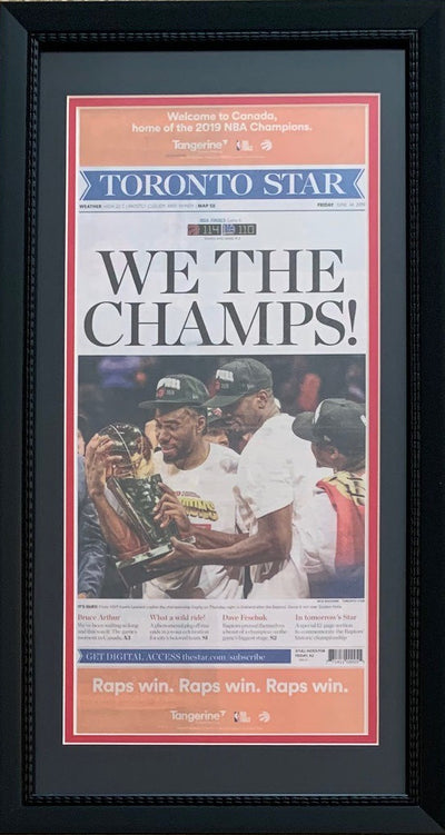 Toronto Raptors NBA Basketball Champions Star WE THE CHAMPS Original Front Page Framed Newspaper-Powers Sports Memorabilia