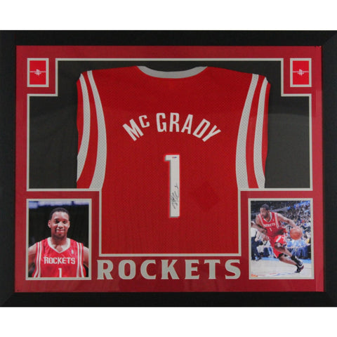 Tracy McGrady Autographed Houston Rockets Signed Reebok Basketball Framed Jersey PSA DNA COA-Powers Sports Memorabilia