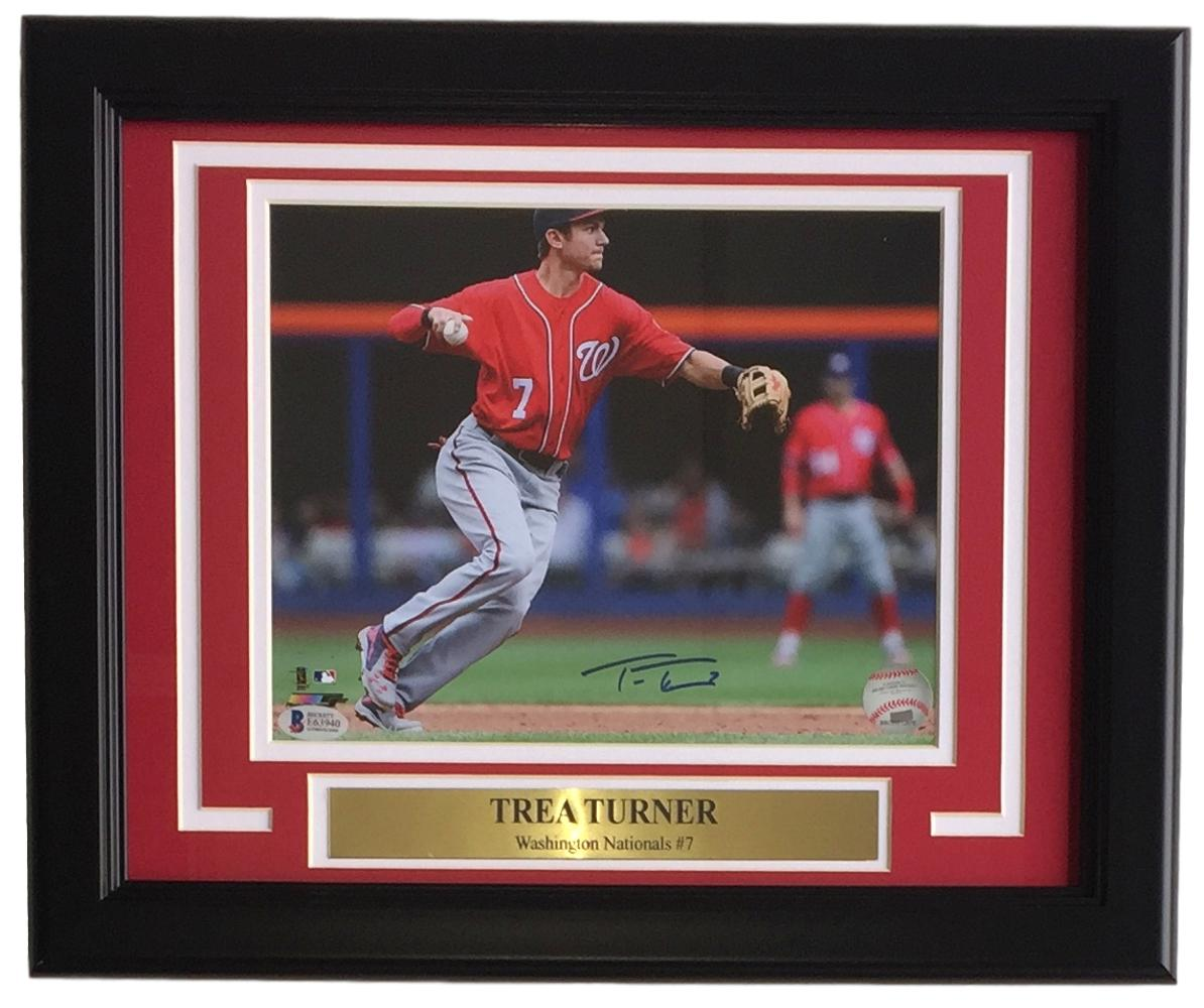 Trea Turner Signed Framed 8x10 Washington Nationals Fielding Photo BAS PSM-Powers Sports Memorabilia