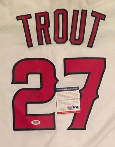 Mike Trout Autographed Los Angeles Angels Signed Majestic Baseball White Jersey Framed PSA DNA COA-Powers Sports Memorabilia