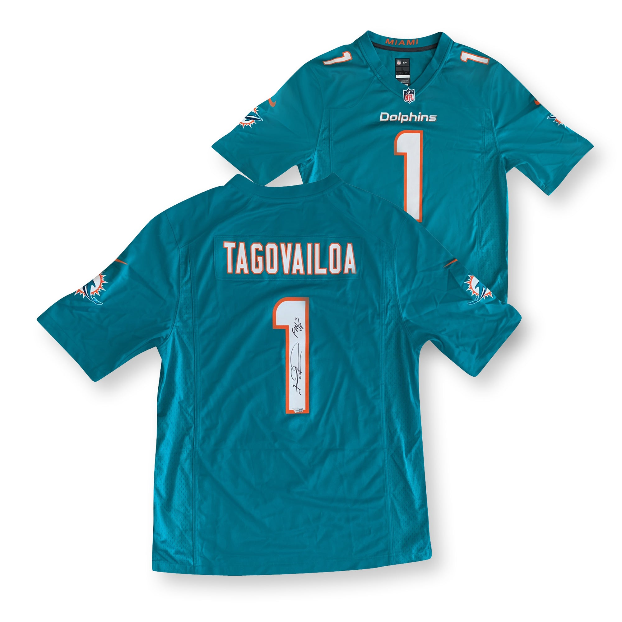 Tua Tagovailoa Autographed Miami Dolphins Signed NFL Nike Game Football Jersey GO FINS Fanatics Authentic COA-Powers Sports Memorabilia