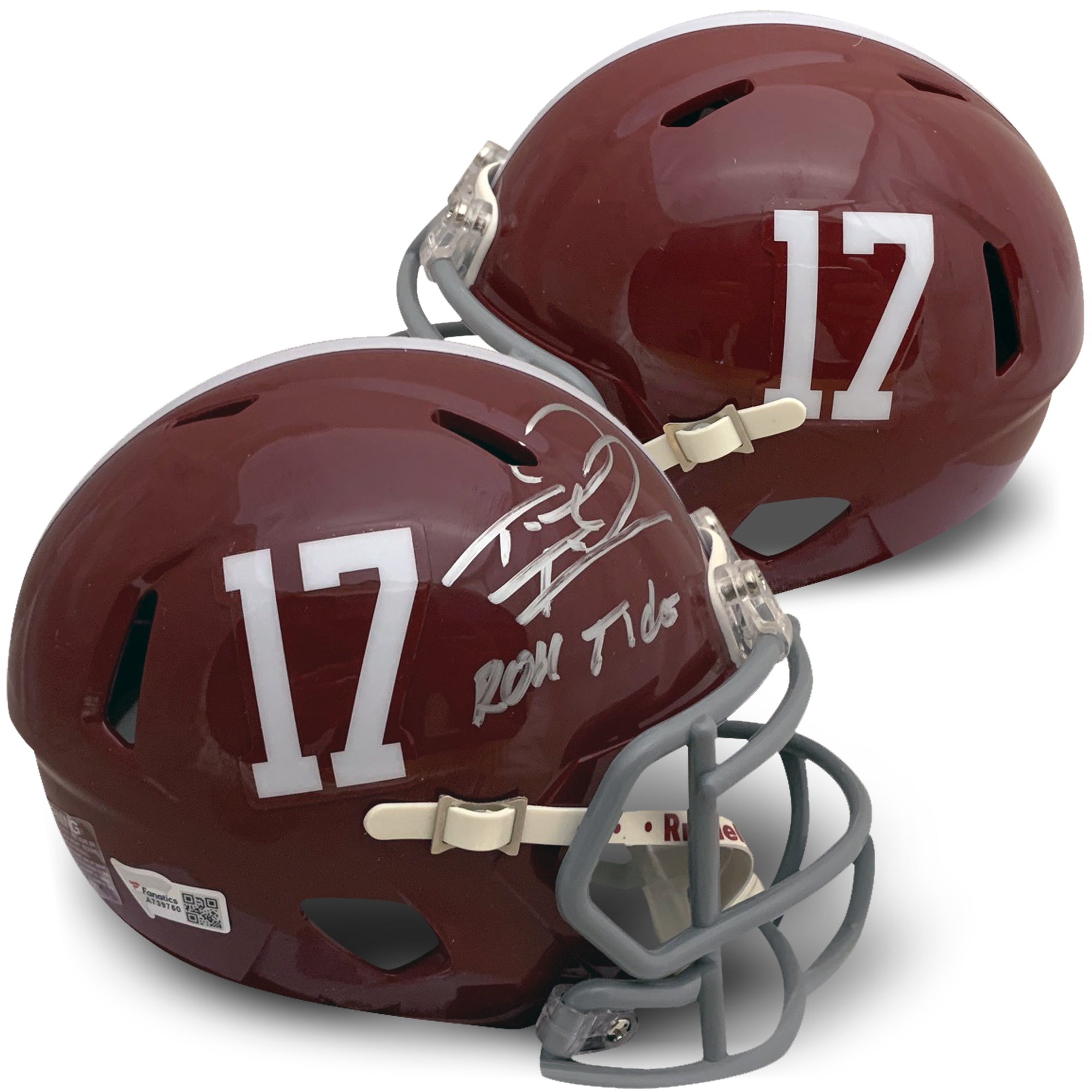 Tua Tagovailoa Autographed Alabama Crimson Tide Signed Football ROLL TIDE Mini Helmet Fanatics Authentic COA-Powers Sports Memorabilia