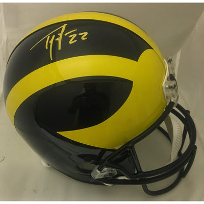 Ty Law Autographed Michigan Wolverines Signed Full Size Replica Football Signed Helmet JSA COA-Powers Sports Memorabilia
