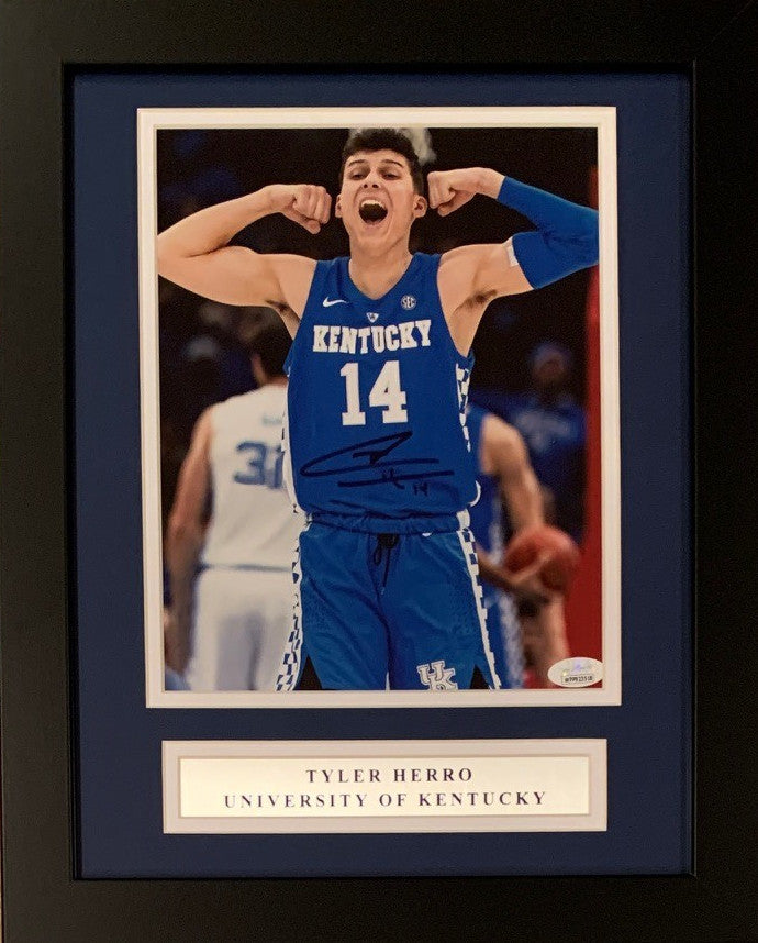 Tyler Herro Autographed Kentucky Wildcats Signed Basketball 8x10 Framed Photo JSA COA-Powers Sports Memorabilia