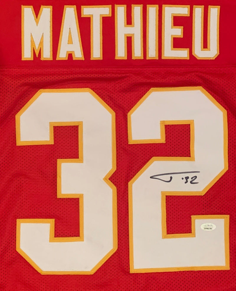 Tyrann Mathieu Autographed Pro Style Signed Red Football Jersey JSA COA-Powers Sports Memorabilia