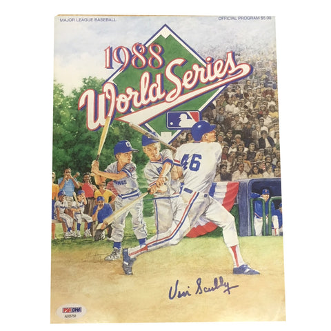 Vin Scully Autographed Dodgers 1988 World Series Signed Program Magazine PSA DNA COA 1-Powers Sports Memorabilia