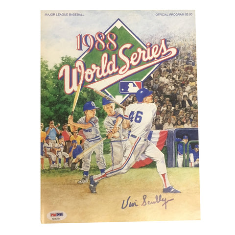 Vin Scully Autographed Dodgers 1988 World Series Signed Program Magazine PSA DNA COA 2-Powers Sports Memorabilia