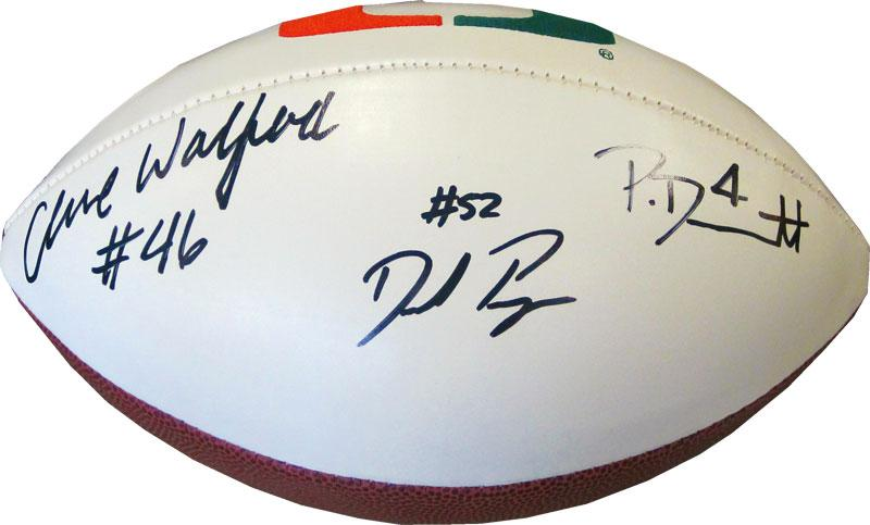 Phillip Dorsett Clive Walford and Denzel Perryman Autographed University of Miami Hurricanes White Panel Football (JSA) PSM-Powers Sports Memorabilia