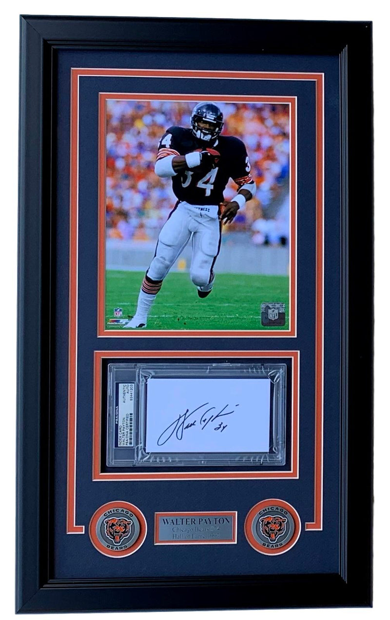 Walter Payton Chicago Bears Slabbed Signature Cut Framed 8x10 Photo PSA/DNA PSM-Powers Sports Memorabilia