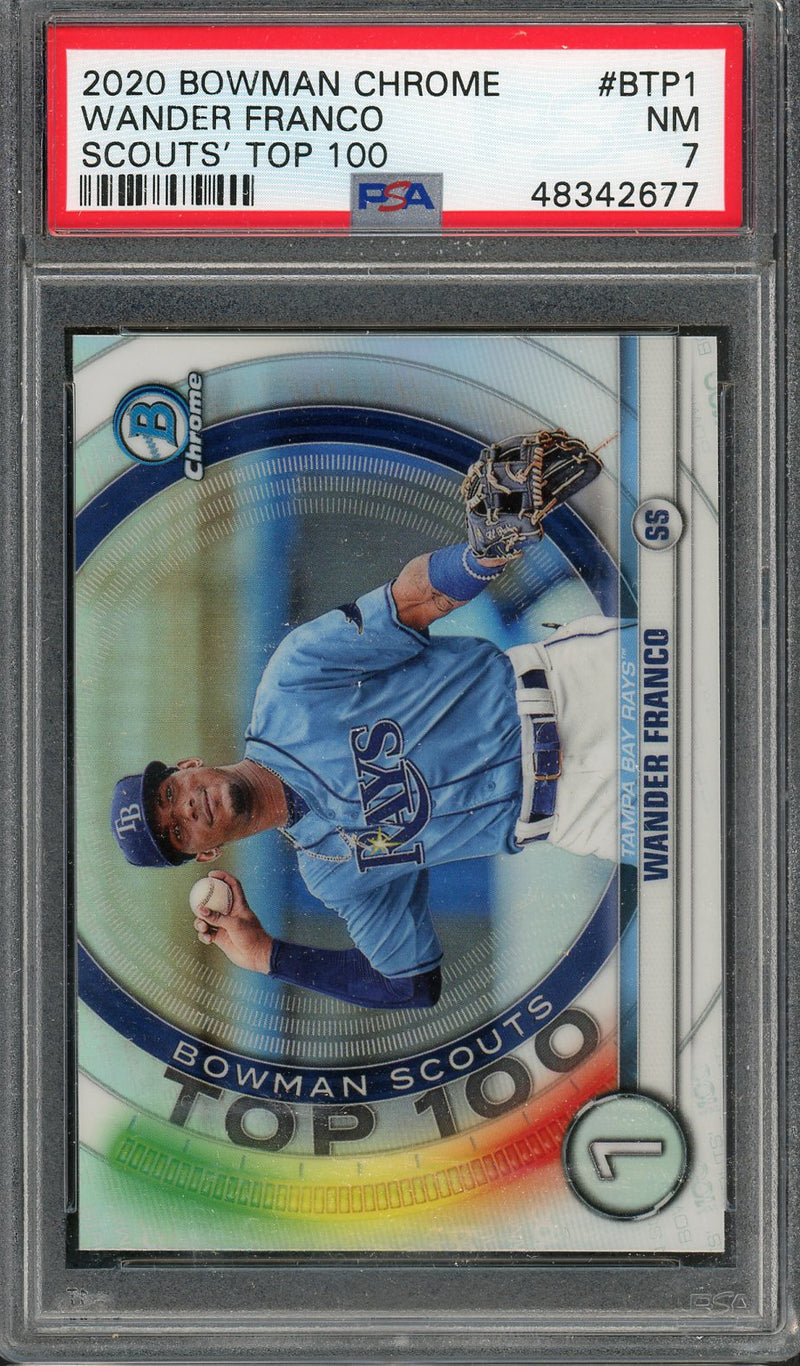 Wander Franco Tampa Bay Rays 2020 Bowman Chrome Scouts Top 100 Baseball Rookie Card RC #BTP-1 Graded PSA 7-Powers Sports Memorabilia