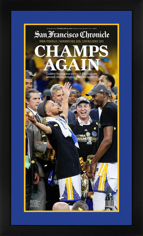 Golden State Warriors 2017 NBA Champions San Francisco Chronicle Framed Newspaper Original Front Page Stephen Curry