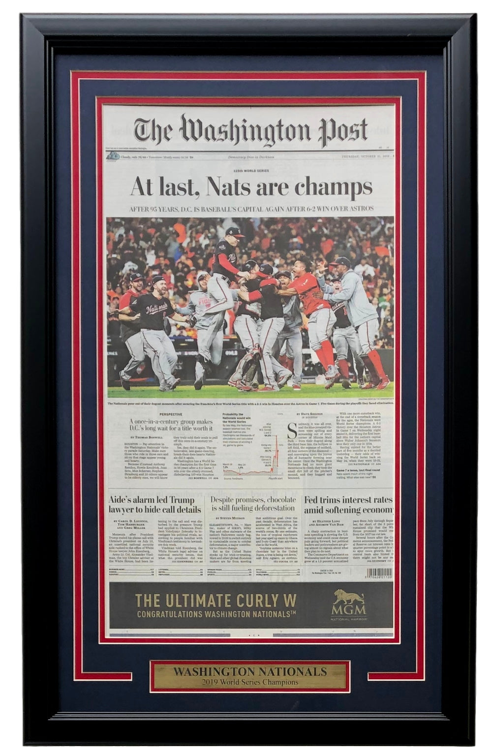 Washington Nationals Framed World Series Champions Oct 31 Washington Post Cover PSM-Powers Sports Memorabilia