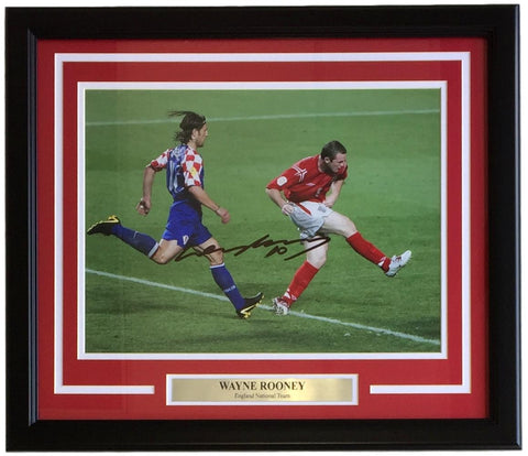 Wayne Rooney Signed Framed 12x16 England vs Croatia Soccer Photo SI+A1 COA PSM-Powers Sports Memorabilia