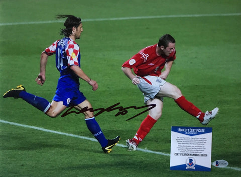 Wayne Rooney Signed 12x16 England vs Croatia Soccer Photo BAS PSM-Powers Sports Memorabilia